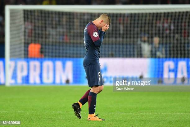 Marco Verratti of PSG is substituted during the Uefa Champions League match between Paris Saint Germain and FC Bayern Munich on September 27 2017 in...