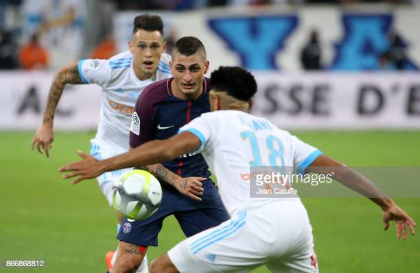 Marco Verratti of PSG Lucas Ocampos of OM during the French Ligue 1 match between Olympique de Marseille and Paris Saint Germain at Stade Velodrome...