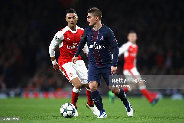 Marco Verratti of PSG on the ball during the UEFA Champions League Group A match between Arsenal FC and Paris SaintGermain at the Emirates Stadium on...