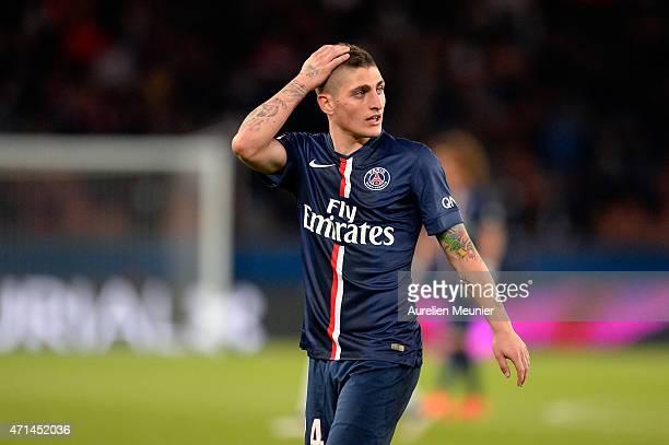 Marco Verratti of PSG reacts during the Ligue 1 game between Paris Saint Germain and Metz at Parc des Princes on April 28 2015 in Paris France