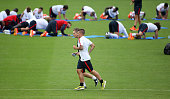 Marco Verratti of PSG runs apart his teammates during the first training session of the season for Paris SaintGermain at PSG training camp Centre...