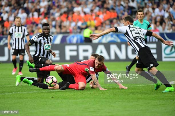 Marco Verratti of PSG runs into the Angers defence during the National Cup Final match between Angers SCO and Paris Saint Germain PSG at Stade de...
