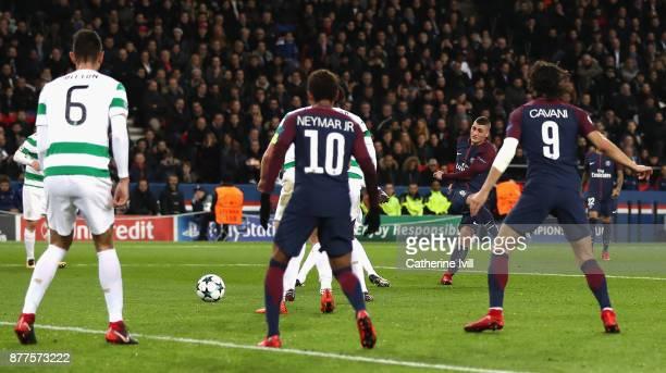 Marco Verratti of PSG scores his sides fifth goal during the UEFA Champions League group B match between Paris SaintGermain and Celtic FC at Parc des...