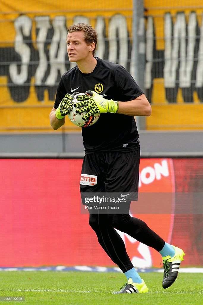 Marco Wolfli BSC Young Boys in action during the warm up before the Raiffeisen Super League match between FC Sion and BSC Young Boys on August 23, 2015 in Sion, Switzerland.