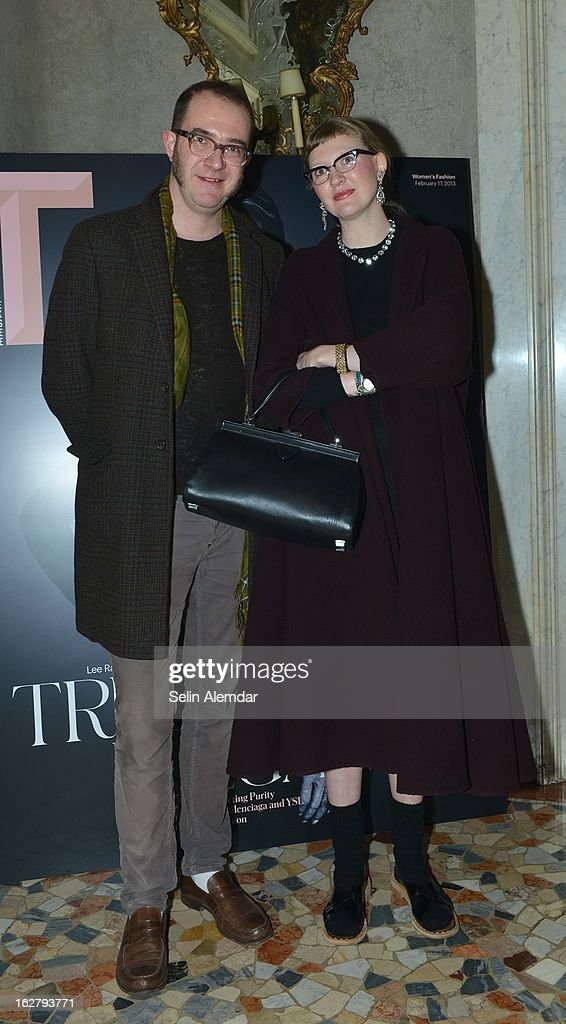 Marco Zanini and guest attend Deborah Needleman's New York Times inaugural issue party during Milan Fashion Week Womenswear Fall/Winter 2013/14 on February 23, 2013 in Milan, Italy.