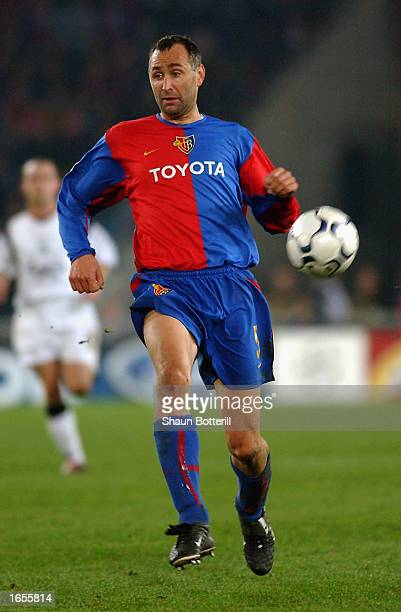 Marco Zwyssig of FC Basel charges forward during the UEFA Champions League First Phase Group B match between FC Basel and Liverpool held on November...