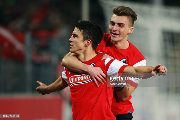 MarcOliver Kempf of Freiburg celebrates his team's second goal with team mate Maximilian Philipp during the Bundesliga match between SC Freiburg and...