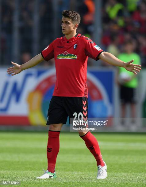 MarcOliver Kempf of Freiburg gestures during the Bundesliga match between SC Freiburg and FC Ingolstadt 04 at SchwarzwaldStadion on May 13 2017 in...