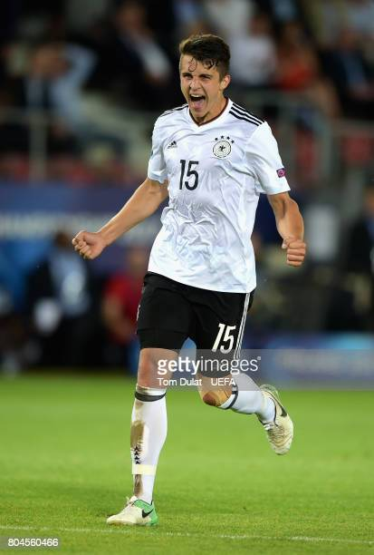 MarcOliverKempf of Germany celebrates victory after the UEFA European Under21 Championship Final between Germany and Spain at Krakow Stadium on June...