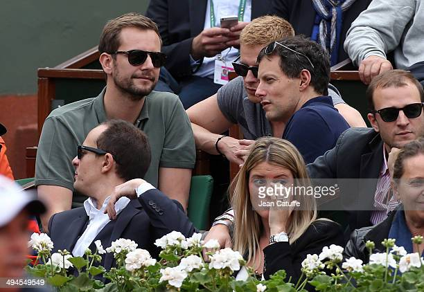 MarcOlivier Fogiel his husband François Roelants and his exboyfriend Matthieu Delormeau attend Day 5 of the French Open 2014 held at RolandGarros...