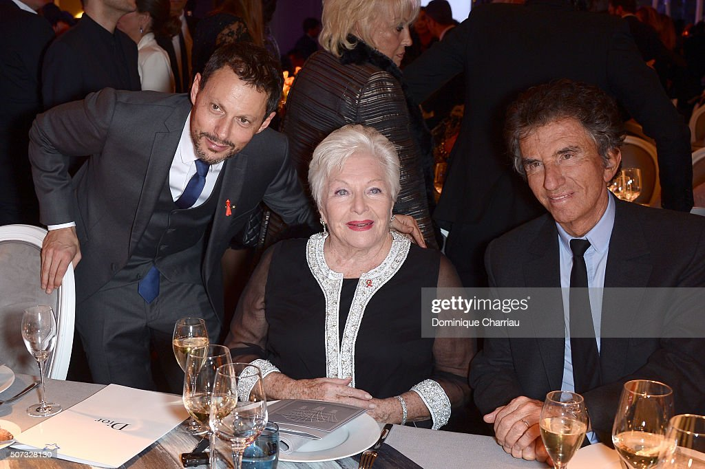 Marc-Olivier Fogiel, Line Renaud and Jack Lang attend the Sidaction Gala Dinner 2016 as part of Paris Fashion Week on January 28, 2016 in Paris, France.