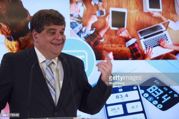 Marco Quatorze chief marketing officer for America Movil SAB speaks during a press conference at the company's headquarters in Mexico City Mexico on...