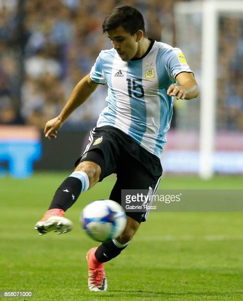 Marcos Acuña of Argentina kicks the ball during a match between Argentina and Peru as part of FIFA 2018 World Cup Qualifiers at Estadio Alberto J...