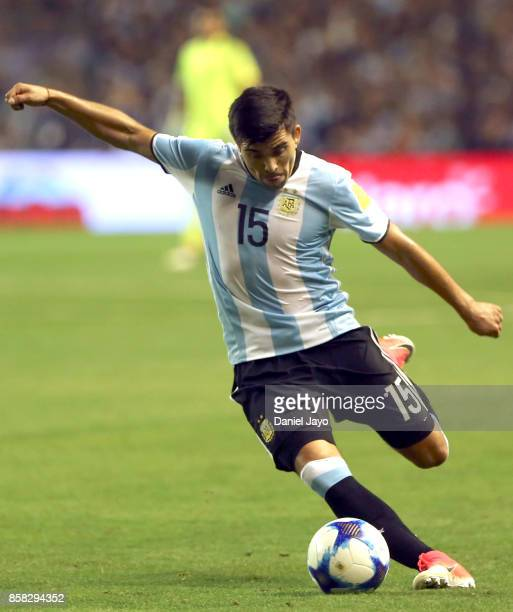 Marcos Acuña of Argentina plays the ball during a match between Argentina and Peru as part of FIFA 2018 World Cup Qualifiers at Estadio Alberto J...