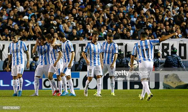 Marcos Acuña of Racing Club and teammates celebrate their team's first goal during a match between Racing Club and Boca Juniors as part of round 28...