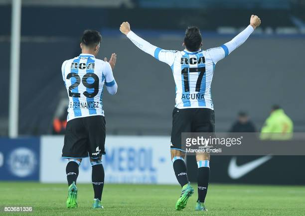 Marcos Acuña of Racing Club celebrates after scoring the third goal of his team during the first leg match between Racing Club and Independiente...