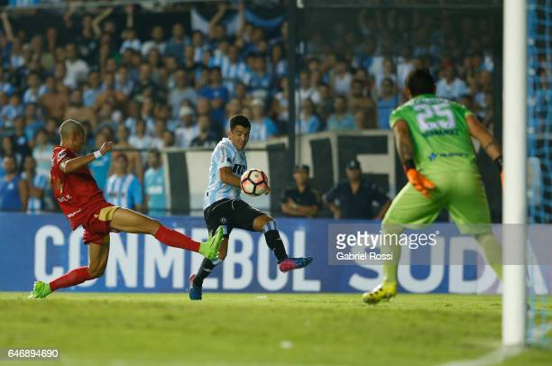 Marcos Acuña of Racing Club kicks the ball during a first leg match between Racing and Rionegro Aguilas as part of first round of Copa Conmebol...