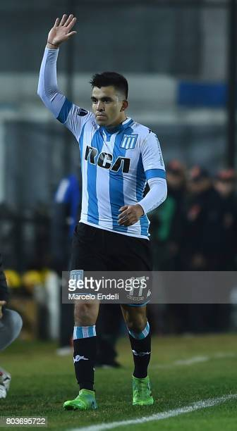 Marcos Acuña of Racing Club leaves the field during the first leg match between Racing Club and Independiente Medellin as part of second round of...