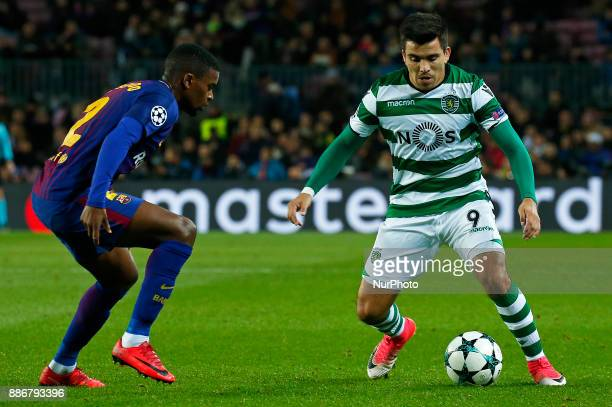 Marcos Acuna and Nelson Semedo during the UEFA Champions League match between FC Barcelona v Sporting CP in Barcelona on December 05 2017