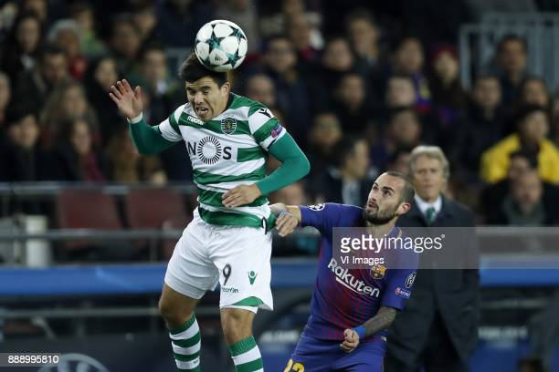 Marcos Acuna of Sporting Club de Portugal Aleix Vidal of FC Barcelona during the UEFA Champions League group D match between FC Barcelona and...