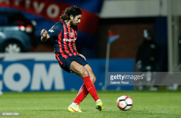 Marcos Alberto Angeleri of San Lorenzo kicks during the penalty shootout after a second leg match between San Lorenzo and Emelec as part of round of...