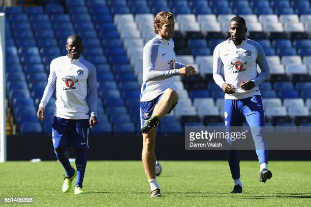 Marcos Alonso and Antonio Rudiger of Chelsea during a training session at Stamford Bridge on September 22 2017 in Cobham England
