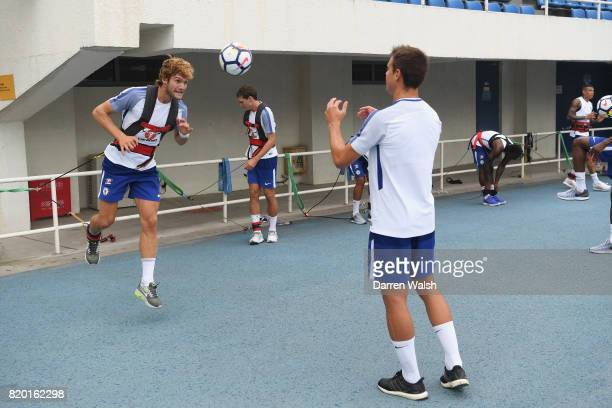 Marcos Alonso and Cesar Azpilicueta of Chelsea during a training session at the AOTI Stadium on July 20 2017 in Beijing China
