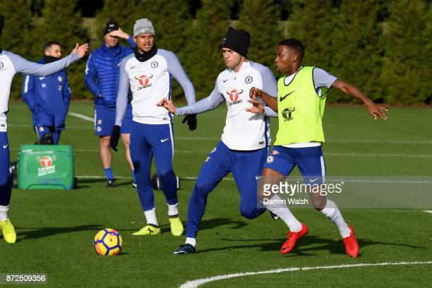 Marcos Alonso and Charly Musonda of Chelsea during a training session at Chelsea Training Ground on November 10 2017 in Cobham England