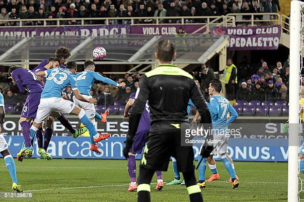 Marcos Alonso of ACF Fiorentina scores the opening goal during the Serie A match between ACF Fiorentina and SSC Napoli at Stadio Artemio Franchi on...