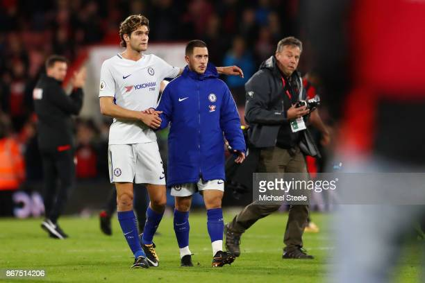Marcos Alonso of Chelsea and Eden Hazard of Chelsea celebrate victory after the Premier League match between AFC Bournemouth and Chelsea at Vitality...