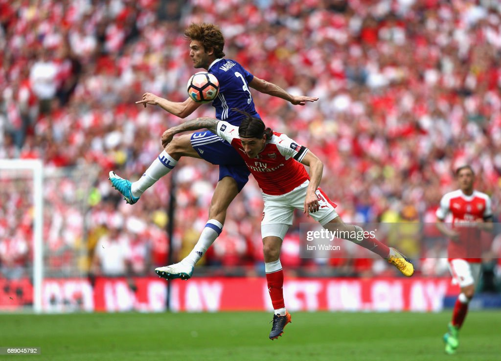 Marcos Alonso of Chelsea and Hector Bellerin of Arsenal battle for possession during The Emirates FA Cup Final between Arsenal and Chelsea at Wembley Stadium on May 27, 2017 in London, England.