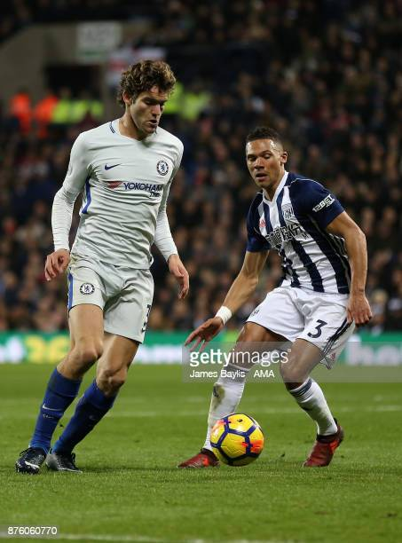 Marcos Alonso of Chelsea and Kieran Gibbs of West Bromwich Albion during the Premier League match between West Bromwich Albion and Chelsea at The...