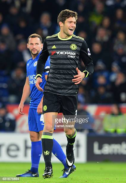 Marcos Alonso of Chelsea celebrates after scoring the opening goal during the Premier League match between Leicester City and Chelsea at The King...