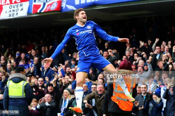 Marcos Alonso of Chelsea celebrates after scoring the opening goal during the Premier League match between Chelsea and Arsenal at Stamford Bridge on...
