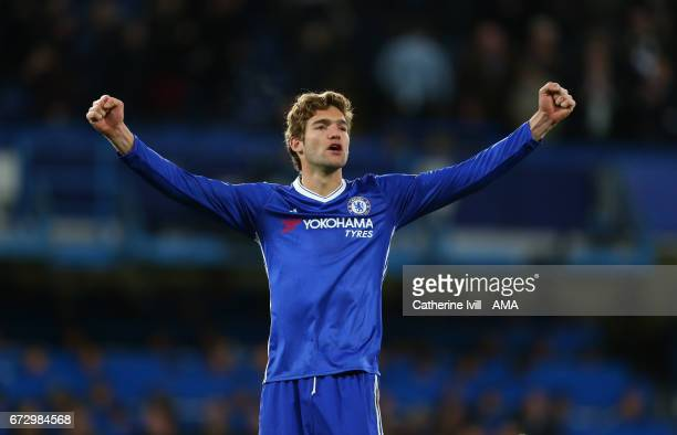 Marcos Alonso of Chelsea celebrates after the Premier League match between Chelsea and Southampton at Stamford Bridge on April 25 2017 in London...