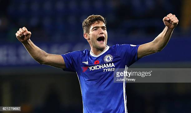 Marcos Alonso of Chelsea celebrates during the Premier League match between Chelsea and Everton at Stamford Bridge on November 5 2016 in London...