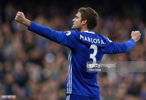 Marcos Alonso of Chelsea celebrates during the Premier League match between Chelsea and Arsenal at Stamford Bridge on February 4 2017 in London...