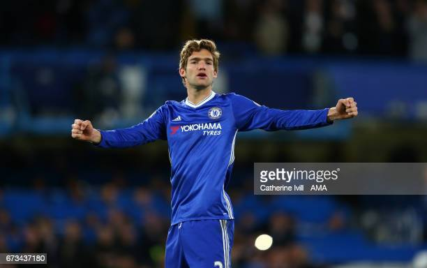 Marcos Alonso of Chelsea celebrates during the Premier League match between Chelsea and Southampton at Stamford Bridge on April 25 2017 in London...