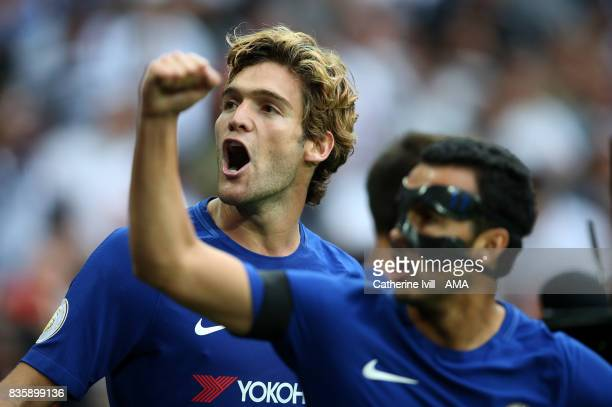 Marcos Alonso of Chelsea celebrates during the Premier League match between Tottenham Hotspur and Chelsea at Wembley Stadium on August 20 2017 in...