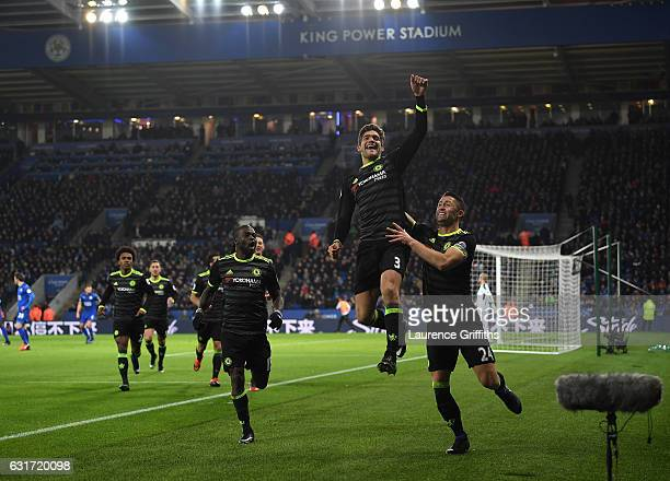 Marcos Alonso of Chelsea celebrates his second goal alongside Gary Cahill during the Premier League match between Leicester City and Chelsea at The...