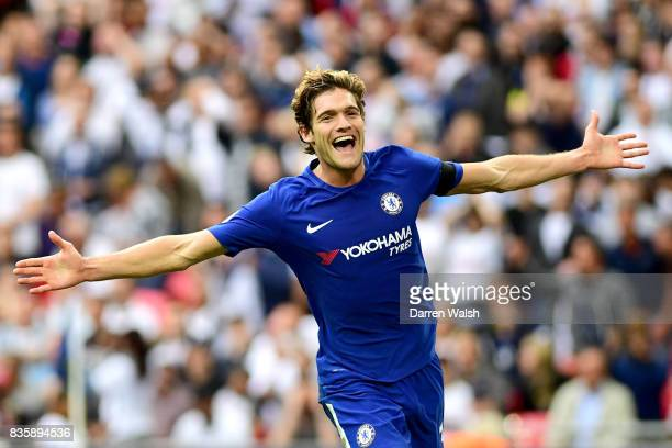 Marcos Alonso of Chelsea celebrates scoring his sides second goal during the Premier League match between Tottenham Hotspur and Chelsea at Wembley...