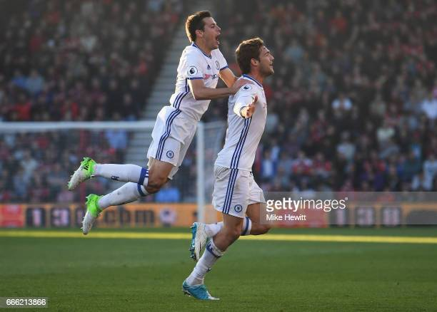 Marcos Alonso of Chelsea celebrates scoring his sides third goal with Cesar Azpilicueta of Chelsea during the Premier League match between AFC...