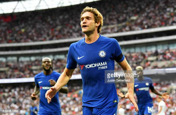 Marcos Alonso of Chelsea celebrates scoring the 2nd Chelsea goal during the Premier League match between Tottenham Hotspur and Chelsea at Wembley...
