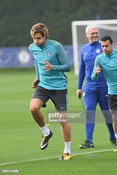 Marcos Alonso of Chelsea during a training session at Chelsea Training Ground on September 26 2017 in Cobham England