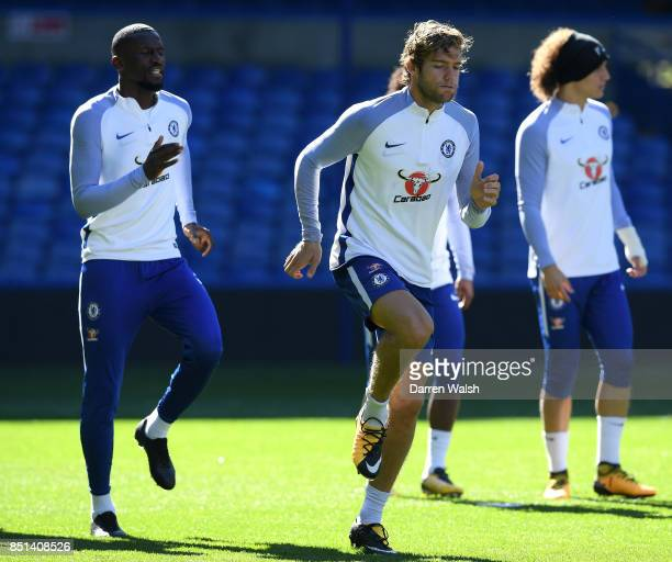 Marcos Alonso of Chelsea during a training session at Stamford Bridge on September 22 2017 in Cobham England