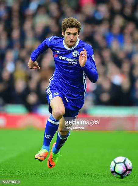 Marcos Alonso of Chelsea during the Premier League match between Stoke City and Chelsea at Bet365 Stadium on March 18 2017 in Stoke on Trent England
