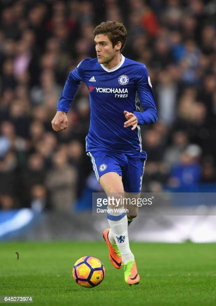 Marcos Alonso of Chelsea in action during the Premier League match between Chelsea and Swansea City at Stamford Bridge on February 25 2017 in London...