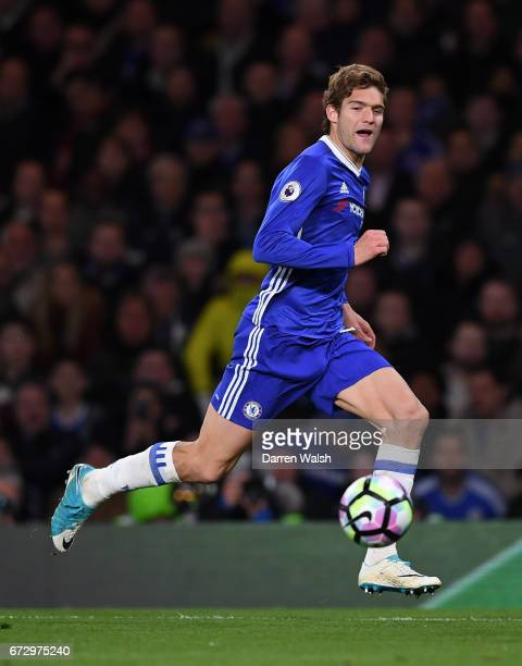 Marcos Alonso of Chelsea in action during the Premier League match between Chelsea and Southampton at Stamford Bridge on April 25 2017 in London...