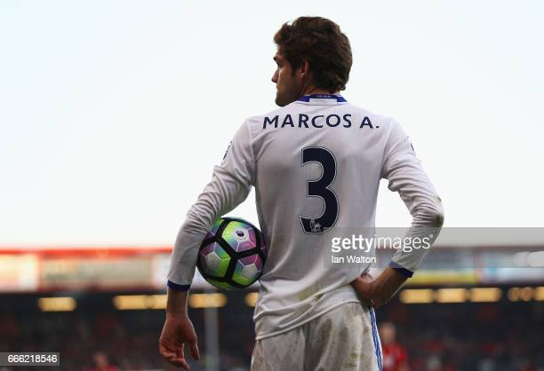 Marcos Alonso of Chelsea looks on during the Premier League match between AFC Bournemouth and Chelsea at Vitality Stadium on April 8 2017 in...