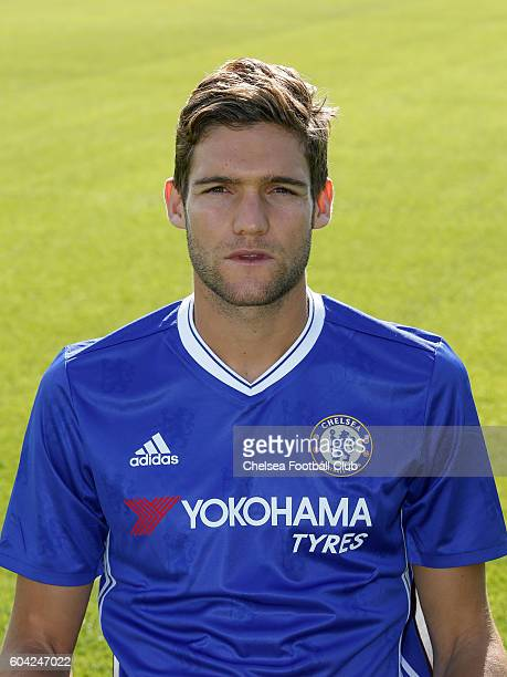 Marcos Alonso of Chelsea poses for the headshot at Chelsea Training Ground on September 13 2016 in Cobham England